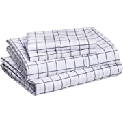 """Amazon Basics Lightweight Super Soft Easy Care Microfiber Sheet Set with 14"""" Deep Pockets - California King, Blue Gray Windowpane, Opens in a new tab"""