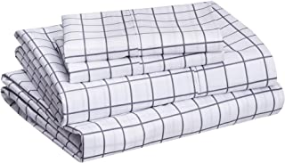 "amazonbasics Lightweight Super Soft Easy Care Microfiber Bed Sheet Set with 16"" Deep Pockets - Queen, Blue Grey Windowpane"