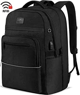 Laptop Backpack,WhiteFang 17.3 Inch TSA Friendly Business Travel Laptop Backpack with USB Charging Port, RFID Pockets Water Resistant Big School Backpack for Women & Men Fits 17.3 Inch Laptop-Black