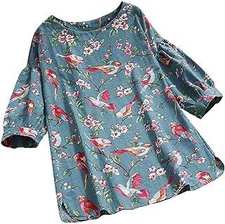 iTLOTL Women Vintage Solid Color Cotton Linen Long Sleeve V Neck Botton Blouse