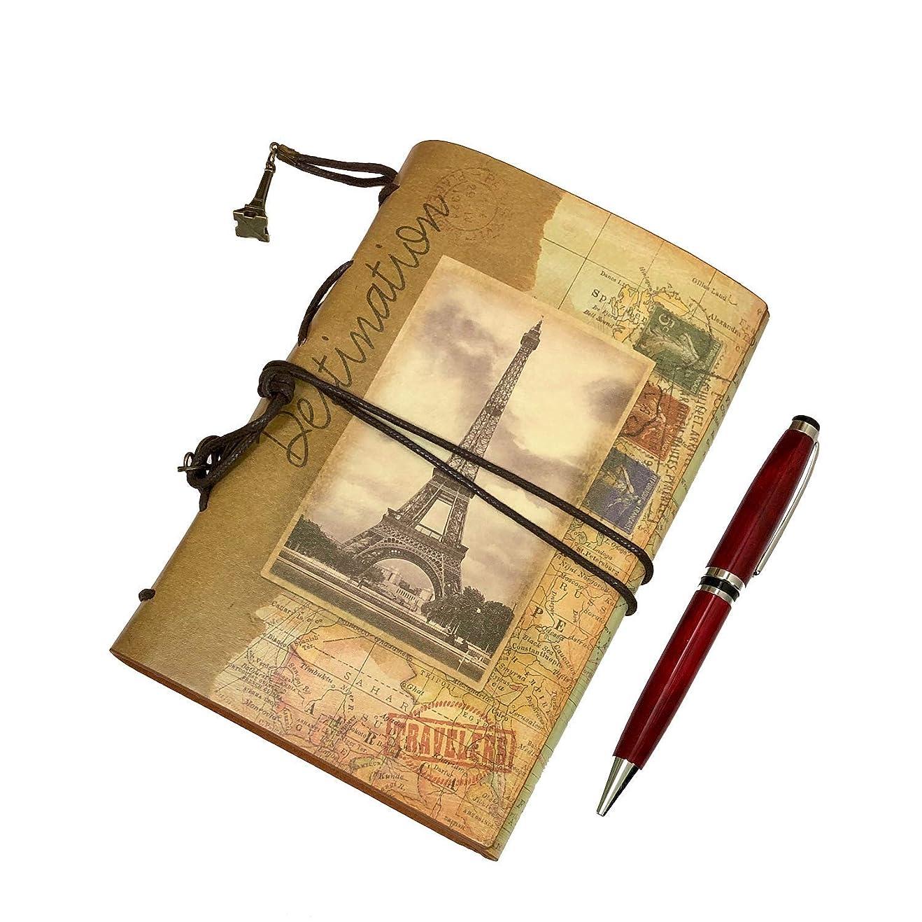ビュッフェ惨めなうれしいfieldlabo アンティーク ダイアリー ルーズリーフ メモ帳 A6 6穴 +ボールペン (エッフェル塔)