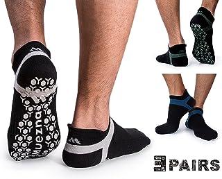 Muezna Men's Non Slip Yoga Socks, Anti-Skid Pilates, Barre, Bikram Fitness Hospital Slipper Socks with Grips, Size 5-13