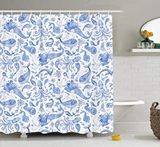 LAONY Octopus Fabric Shower Curtain, Shower Curtain Set Wallpaper Pattern Indigo Blue Fairy Tale Sea Animals Farmhouse Shower Curtain for Bathroom 72x72 inches Set of 12 Hooks, Coral Blue