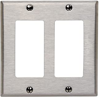 Leviton 84409-40 2-Decora/Gfci Standard Size Wall Plate, 2 Gang, 4.5 In L X 4.56 In W 0.19 In T, Brushed, 1 pack, Stainless Steel