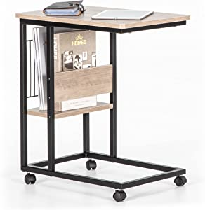JJS Side End C Table with Magazine Holder for Sofa, Living Room Couch Table Snack Table That Slide Under for Small Spaces, Smoky Grey
