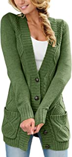 Sponsored Ad - Sidefeel Women Open Front Pocket Cardigan Sweater Button Down Knit Sweater Coat
