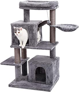 Made4Pets 45.6 Inches Stable Multi-Level Cat Tree Condo, Luxurious Kitten Activity Tower with Sisal-Covered Scratching Posts, Hammock and Spacious Perch