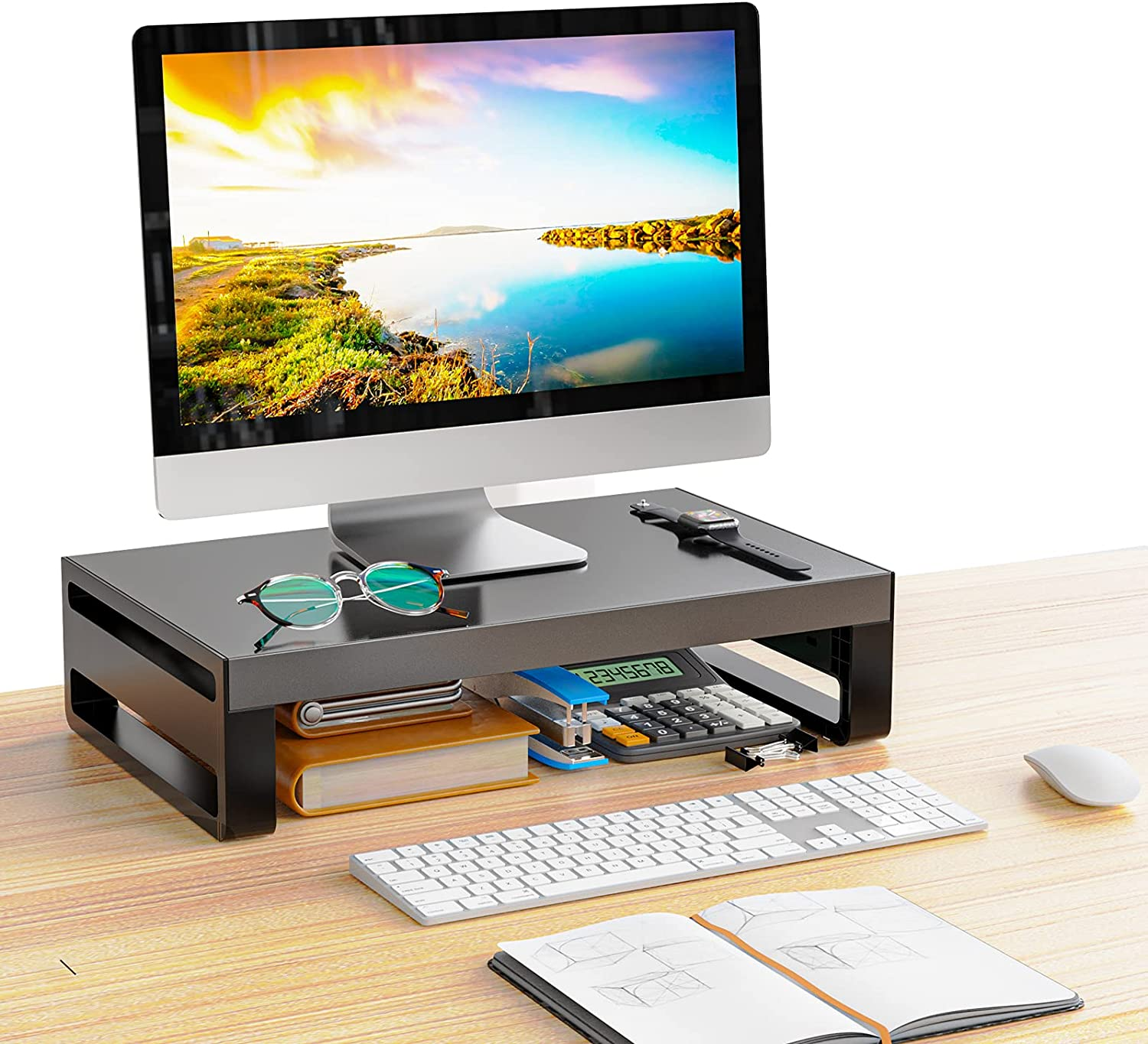 Monitor Stand Riser, Aluminum Desktop Stand with Dust Cover for Computer, iMac, Laptop, Printer, Notebook and All Plat Screen Display, Ergonomic Tabletop Organizer with Vented Metal, Black (Small)