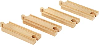 BRIO World - 33334 Short Straight Tracks | 4 Piece Wooden Train Tracks for Kids Ages 3 and Up