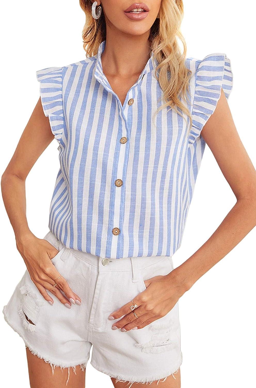 Milumia Women Striped Button Down Collar Blouse Shirt Ruffle Cap Sleeve Work Office Top