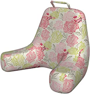 Ambesonne Floral Foam Reading Pillow, Romantic Soft Pastel Pink Roses and Green Flowers with Perching Birds on Petals, Shredded Visco Bedrest with Washable Cover and Pocket, X-Large, Multicolor