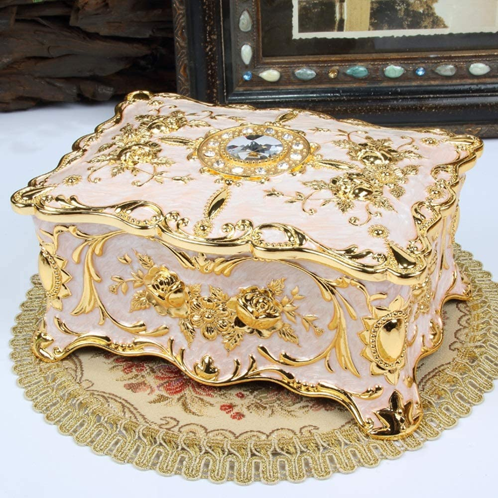 LUCY STORE Large New mail order Golden Rose Embossed Box Inlaid Low price Rhinest Jewelry