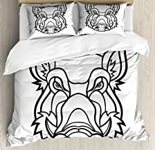 Razorback Duvet Cover Set, Bed Sheets, Uncolored Outline Design Drawing of Wild Boar Pig Head Illustration, Decorative 3 Piece Bedding Set with 2 Pillow Shams, King Size, Charcoal Grey and White