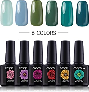 COSCELIA Soak Off Gel Nail Polish Set 6 Colors Glitter UV LED Gel Polish Set Manicure Varnish Kit