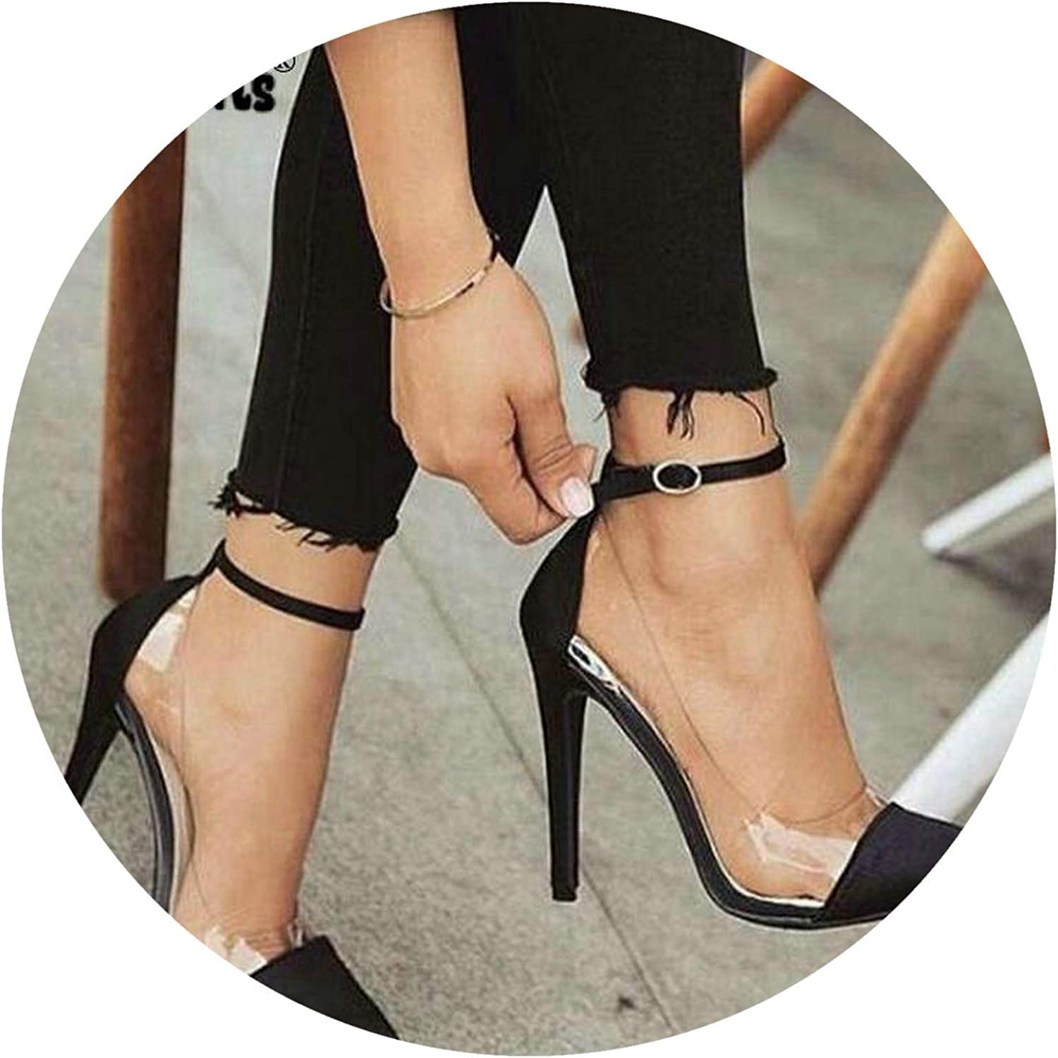 Wild Little Cat Thin high Heels Ankle Buckle Women Pump Woman Sapato Jelly Clear Chaussure Bride Sexy