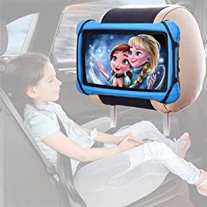 uniplay Car Headrest Holder Kids Tablet Car Holder Back Seat Strap Holder for 7-10 Inch iPad/Kindle Fire, Universal Tablet Headrest Mount Angle Adjustable Silicone Holder