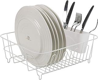 comprar comparacion Escurridor de platos de metal sin óxido grande, 11 espacios para platos y cuencos, soporte para cubiertos de 4 secciones, ...