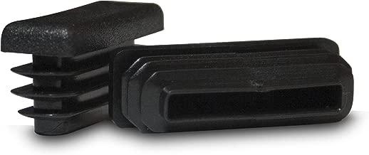 Prescott Plastics 1/2 x 1 1/2 Inch Rectangle Black Plastic Plug End Cap (10)