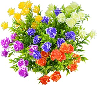 5Pack Artificial Flowers Fake Outdoor UV Resistant Plants Faux Plastic Greenery Shrubs Bushes Indoor Outside Hanging Planter Home Garden Window Box Patio Yard Office Wedding Decor Flower (Mixture)
