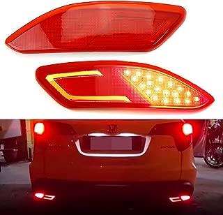 iJDMTOY JDM Fluid Style Red Lens LED Bumper Reflector Lamps For 2016-up Honda HR-V, Function as Tail, Brake & Rear Fog Lights