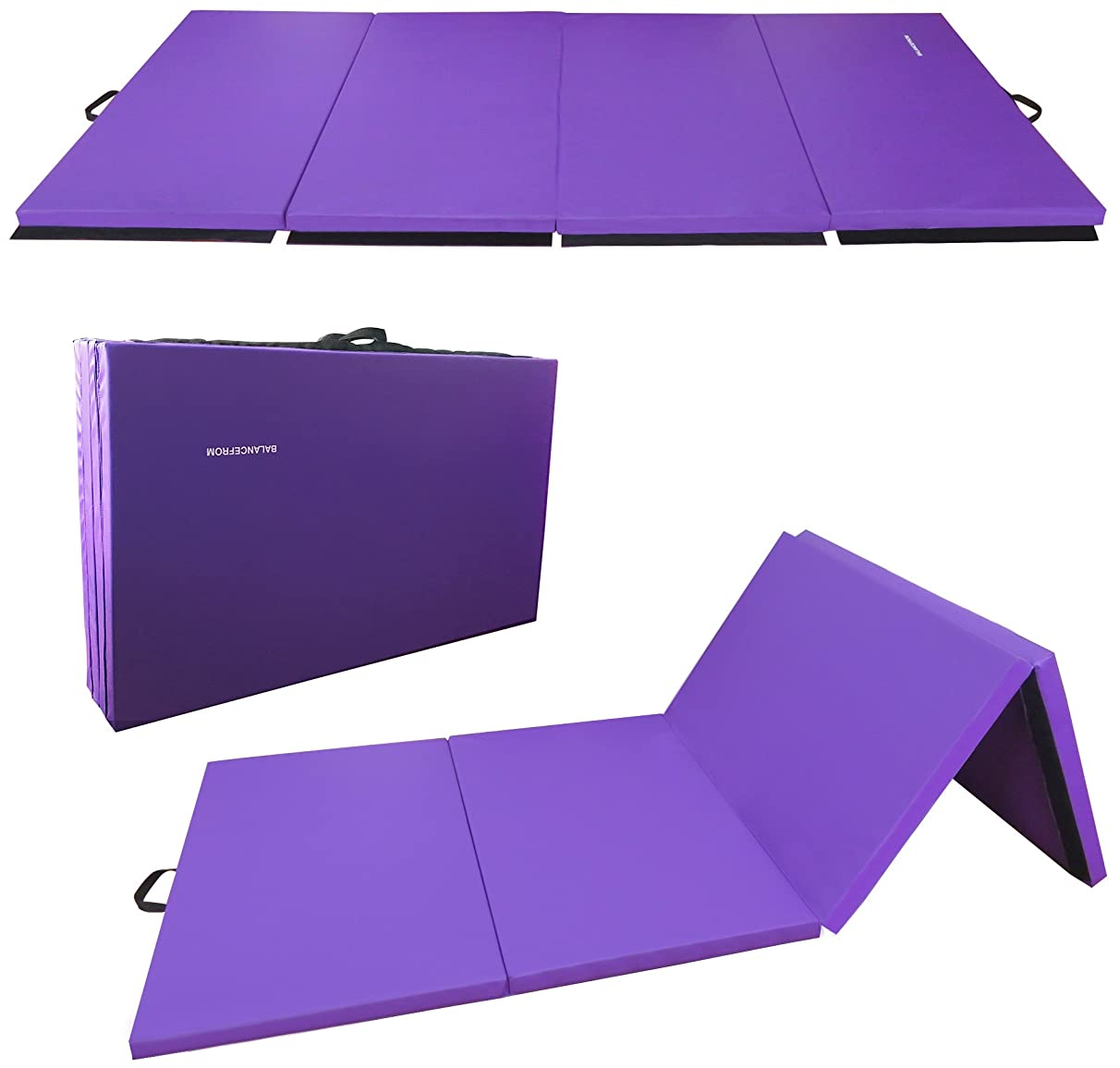BalanceFrom GoGym All-Purpose 4'x10'x2 Extra Thick High Density Anti-Tear Gymnastics Gym Folding Exercise Aerobics Mats