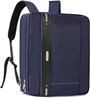 MOSISO Convertible Backpack Laptop Shoulder Messenger Bag for Men Women Multi-Functional Work Business Travel Briefcase Handbag with Lock Anti Theft & Back Trolley Belt Blue Navy Blue