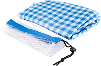 Keri & Joachim 6ft Vinyl Rectangle Tablecloth Stay Put Elastic Edge Fitted Wipeable Spillproof Table Cloth with Soft Flannel Backing Heavy Duty Plastic Table Cover Blue Checkered Plaid 6ft x 2.5ft