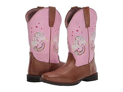Roper Kids Rainbow Unicorn (Toddler/Little Kid) (Tan Vamp/Pink Unicorn Shaft) Cowboy Boots