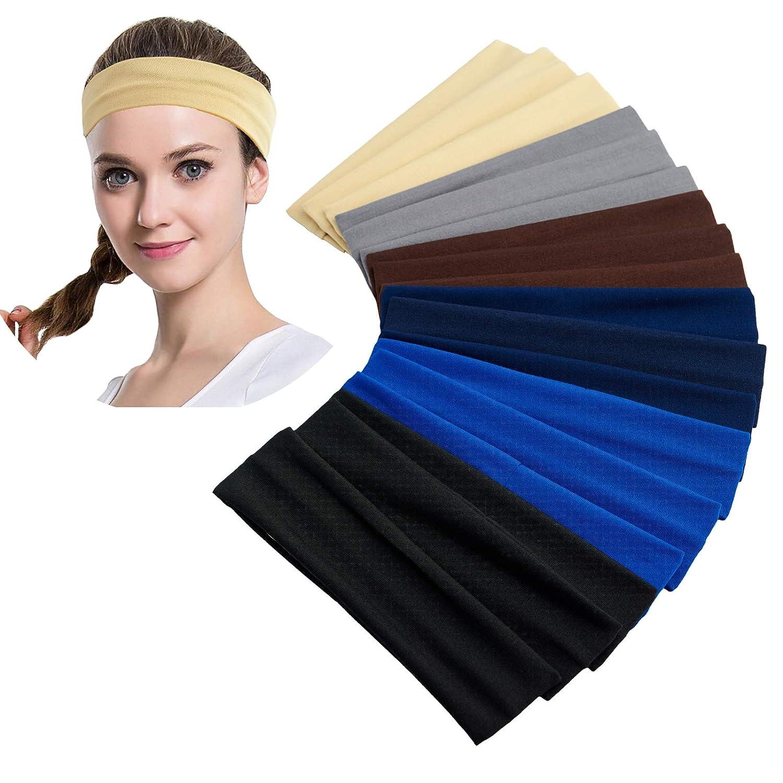 Damen Yoga Sports Breit Stirnband Elastisch Boho Haarband Armband Mädchen #B