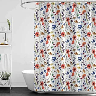 shower curtains beach scenes House Decor Collection,Wildflowers Poppy Chamomile Cornflowers Daisies Countryside Fun Illustration Image,Coral Navy Blue W65