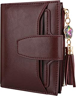 Luxspire Genuine Leather Women's RFID Blocking Wallet, Small Compact Zipper Pocket Wallet Card Case Purse Bifold Wallet with 2 ID Window, Wine Red