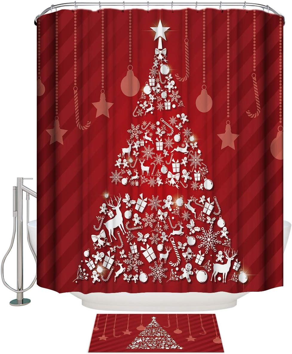 Merry Christmas Waterproof Max 57% OFF Shower Curtain Floor Doorma Suit with Ranking TOP11