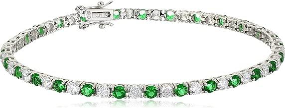 .925 Sterling Silver Alternating AAA Cubic Zirconia Tennis Bracelet, 7.5