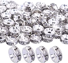 BoNaYuanDa 100pcs 8mm Silver Plated Crystal Rondelle Spacer Beads for jewelery Making