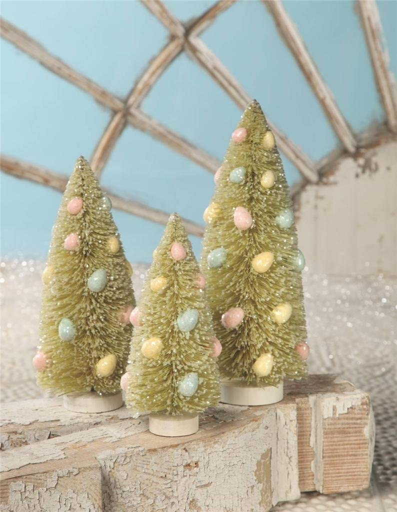 Bethany Lowe 3 Piece 70% OFF Outlet Bottle Brush Japan Maker New Easter Si Tree 7.5