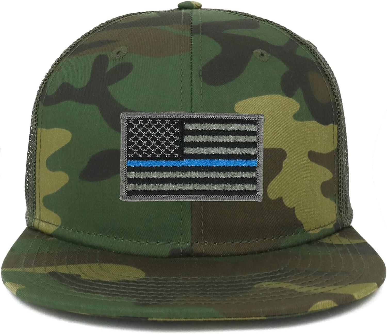 Armycrew Oversize XXL Thin Blue Line USA Flag Patch Camouflage Flatbill Mesh Snapback Cap
