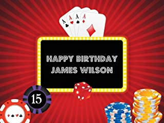 Red Glow Poker Chips Casino Gambler Style Custom Wall Decor for Birthday Banner Party Decoration Dice and Playing Cards Poker Concept, Gambler Theme, Poster Print Sizes 36x24, 48x24, 48x36