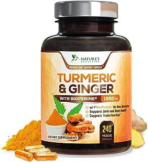 Turmeric Curcumin with BioPerine & Ginger 95% Curcuminoids 1950mg - Black Pepper for Absorption, Made in USA, Natural Immu...