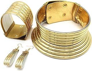 African Chocker Necklace - Ankara Jewelry - Sunkissed Marula Kente Choker & Bib African Necklace Jewelry Set (3piecesSet)