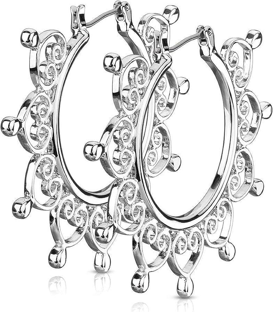 2 Inch Vintage Tone Brass Heart Filigree Hoop Earrings, Surgical Steel Post