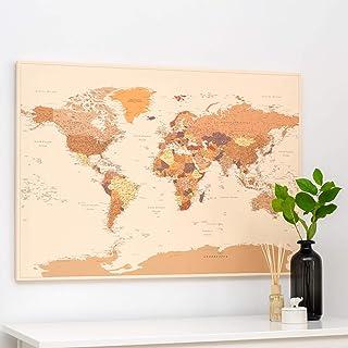 Planisfero da Parete – Mappa del mondo - Quadro su tela incorniciato con 100 puntine incluse – Cartina geografica mondo in...