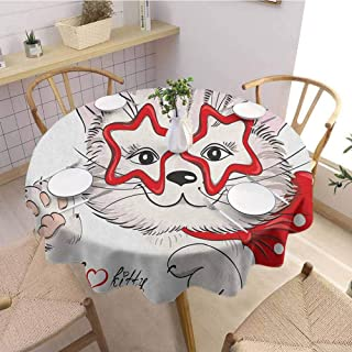 Kids Washable Round Tablecloth Fashion Portrait Hipster Cat with Star Shaped Glasses and Bow I Love Kitty Dinner Picnic Home Decor D55 Inch Round Red Beige Pale Pink