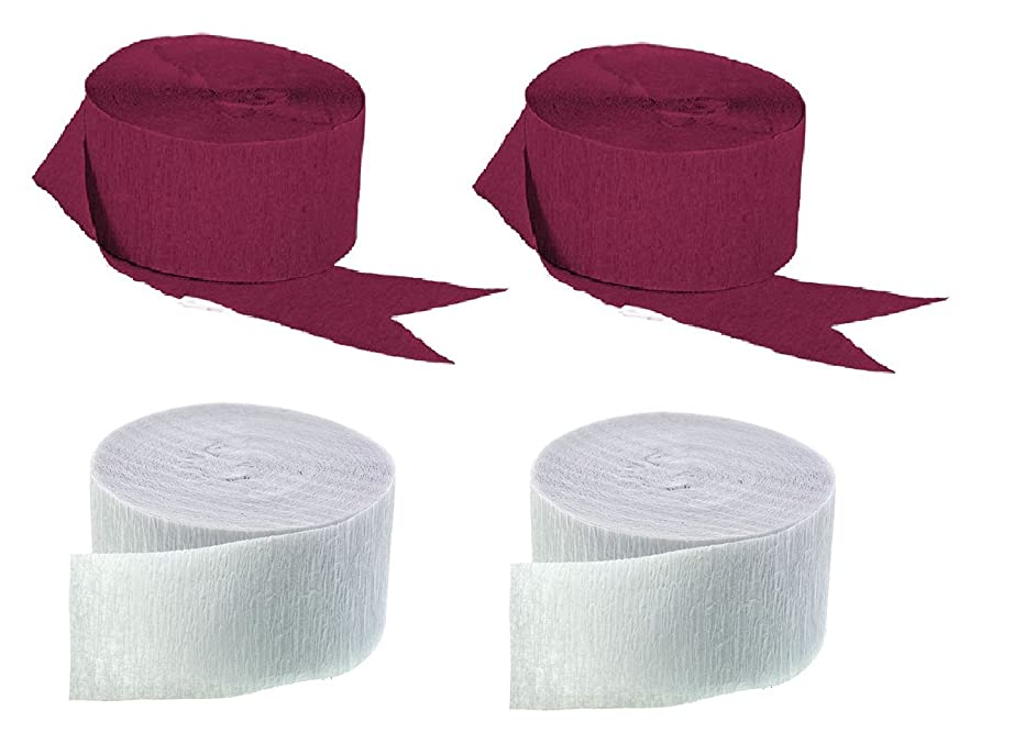 Maroon and White Crepe Paper Streamers (2 Rolls Each Color) MADE IN USA!