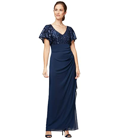 Alex Evenings Long Empire Waist Dress with Sequin Lace Bodice and Flutter Sleeves Women