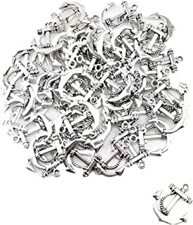Yueton 50pcs Vintage Silver Anchor Sign Smooth Metal Charms Beads Pandent Jewelry Making Accessory