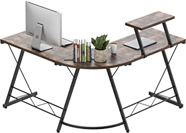 Amyove L-Shaped Computer Desk, Home Office Desk with Monitor Stand,Corner Desk for Home, Computer Gaming Desk Table,Space-Sav