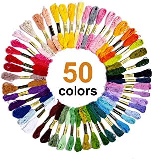 Embroidery Thread, 50 Skeins Rainbow Color Cross Stitch Threads, Bracelets Floss, Crafts Floss Embroidery Floss