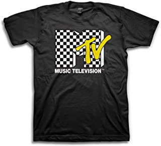 Mens MTV Shirt with Checkerboard - #TBT Mens 1980's Clothing - I Want My MTV T-Shirt