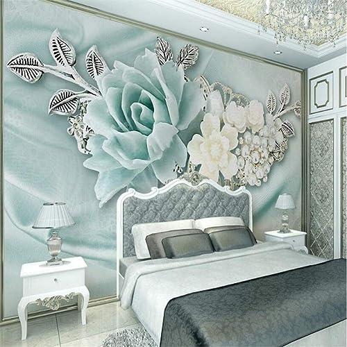 Con 100% de calidad y servicio de% 100. YYBHTM Fondo Fondo Fondo De PanTalla 3D TV Dormitorio De La Sala De Estar Mural 3D Menta verde Joya De La Perla Pintura Al óleo Floral  Descuento del 70% barato