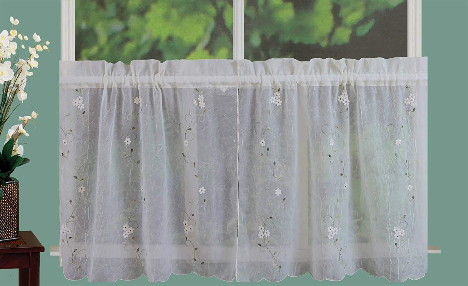 Creative Linens Daisy Embroidery Kitchen Tiers Curtain L Colorado Springs Mall 24